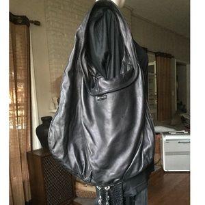 Thomas Wylde Jumbo black lambskin Hobo bag.